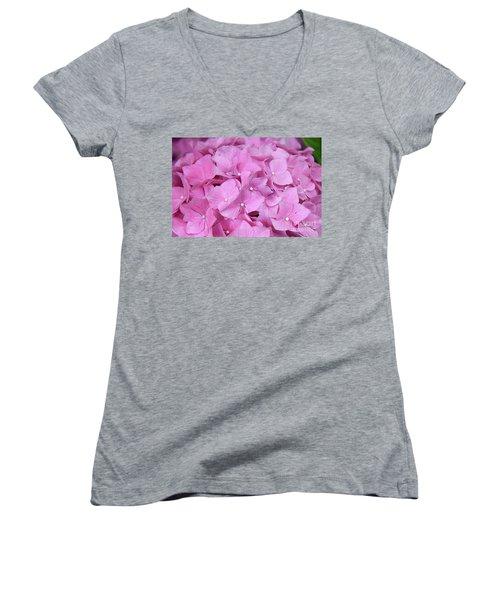 Pink Hydrangea Women's V-Neck T-Shirt (Junior Cut) by Elvira Ladocki