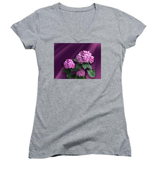 Pink Hydrangea Women's V-Neck T-Shirt (Junior Cut) by Judy Johnson