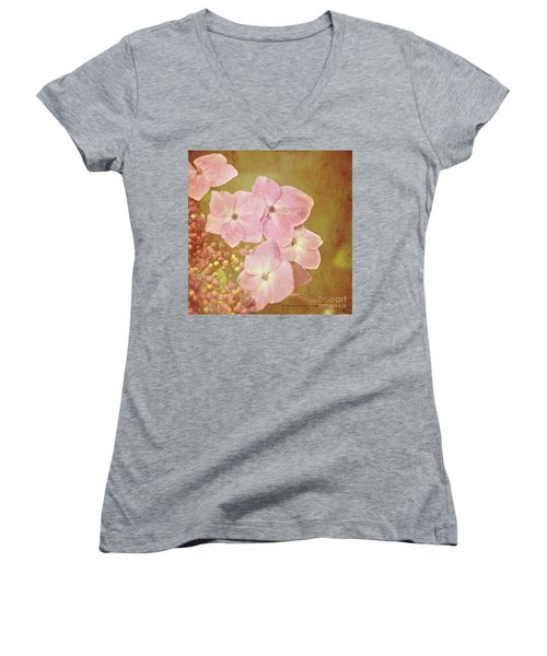 Women's V-Neck T-Shirt (Junior Cut) featuring the photograph Pink Hydrangeas by Lyn Randle