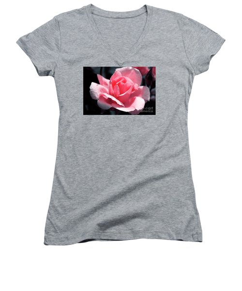 Pink In Light And Shadow Women's V-Neck T-Shirt (Junior Cut) by Rebecca Davis