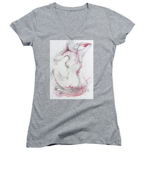 Women's V-Neck T-Shirt (Junior Cut) featuring the drawing Pink Lady by Marat Essex