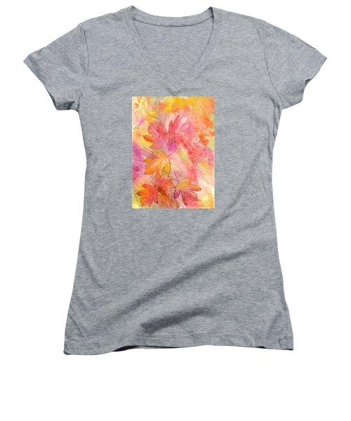 Pink Leaves Women's V-Neck T-Shirt (Junior Cut) by Nancy Cupp