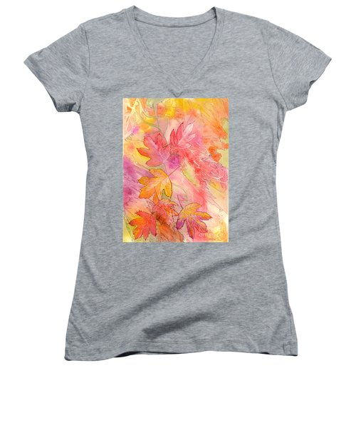 Pink Leaves Women's V-Neck