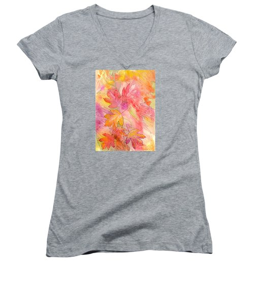 Pink Leaves Women's V-Neck (Athletic Fit)