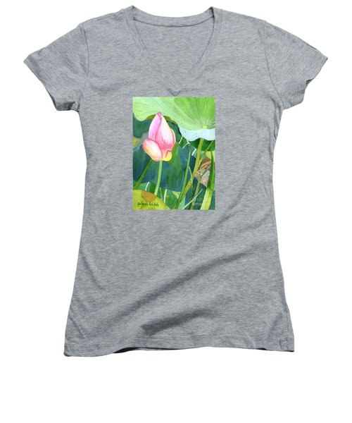 Women's V-Neck T-Shirt (Junior Cut) featuring the painting Pink Lotus by Yolanda Koh