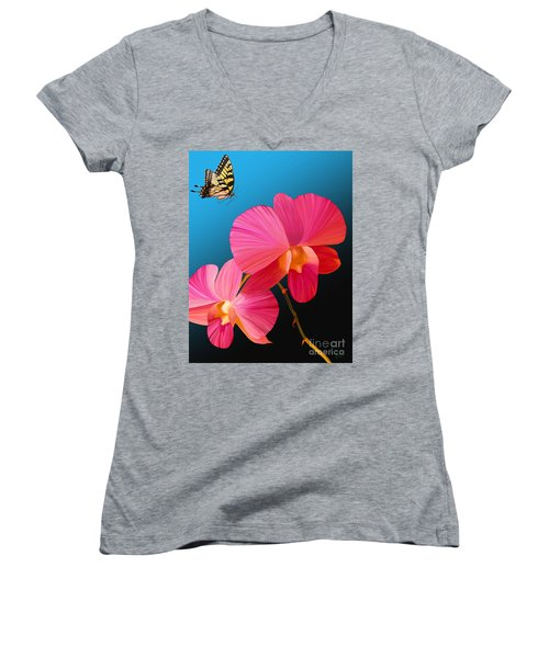 Women's V-Neck T-Shirt (Junior Cut) featuring the painting Pink Lux Butterfly by Rand Herron