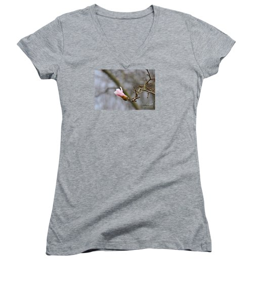 Women's V-Neck T-Shirt (Junior Cut) featuring the photograph Pink Magnolias 20120321_54a by Tina Hopkins