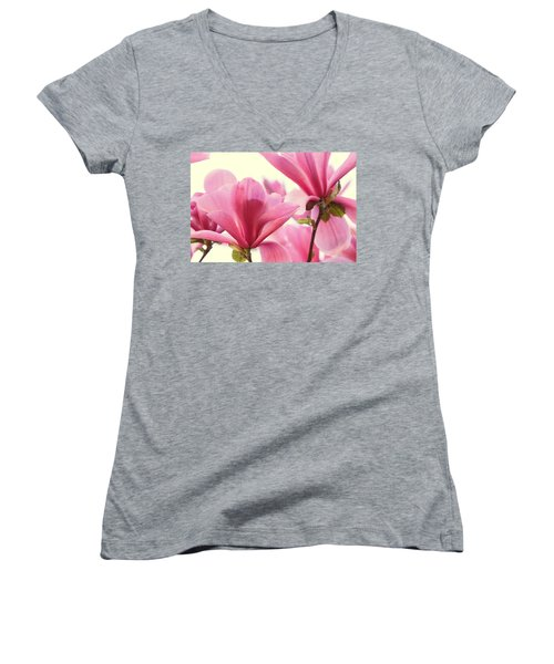 Women's V-Neck T-Shirt (Junior Cut) featuring the photograph Pink Magnolias by Peggy Collins