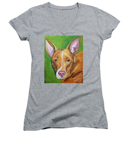 Women's V-Neck T-Shirt (Junior Cut) featuring the painting Pink Nose by Ania M Milo