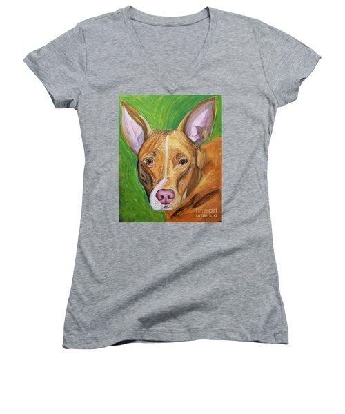 Pink Nose Women's V-Neck T-Shirt (Junior Cut) by Ania M Milo