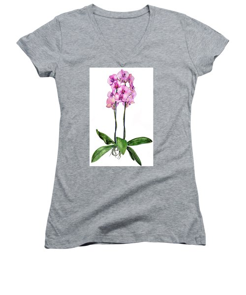 Women's V-Neck T-Shirt (Junior Cut) featuring the painting Pink Orchids by Heidi Kriel