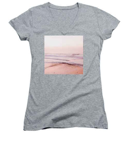 Pink Pacific Beach Women's V-Neck T-Shirt (Junior Cut) by Bonnie Bruno