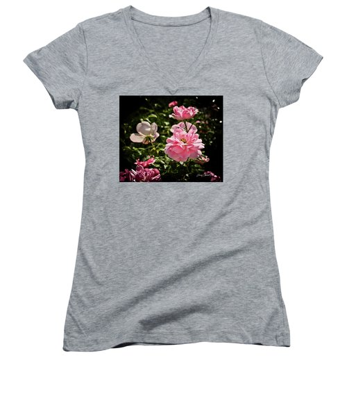 Women's V-Neck T-Shirt (Junior Cut) featuring the photograph Pink Passion  by Joann Copeland-Paul