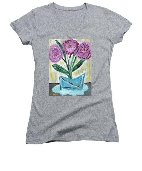 Pink Peonies-gray Table Women's V-Neck T-Shirt