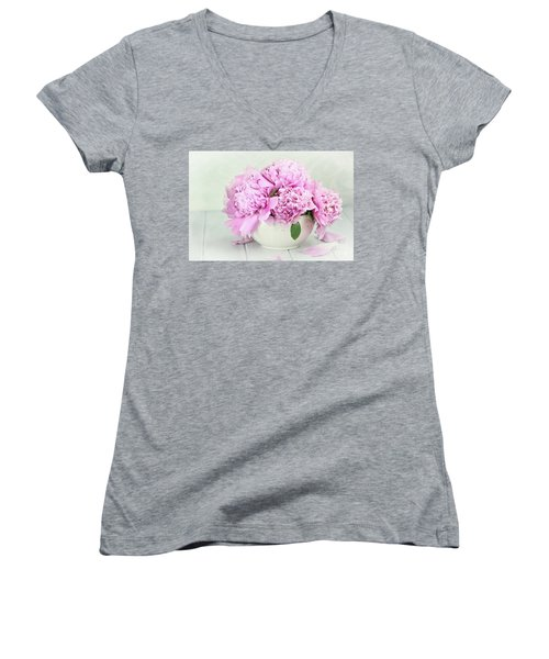 Pink Peonies Women's V-Neck T-Shirt (Junior Cut) by Stephanie Frey