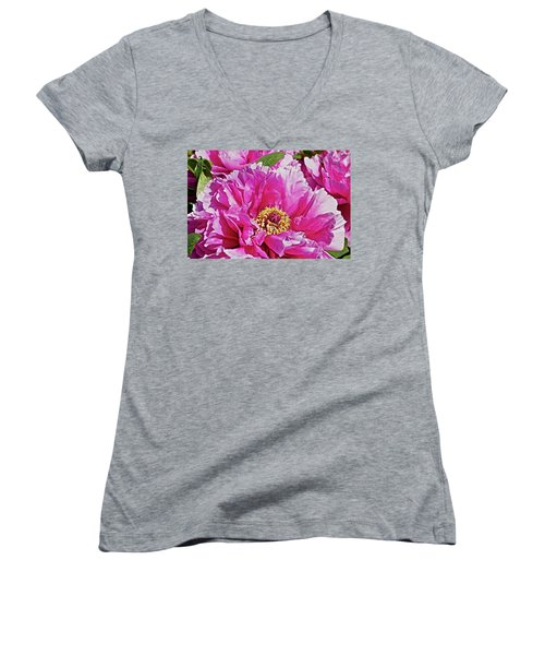 Pink Peony Women's V-Neck T-Shirt (Junior Cut) by Joan Reese