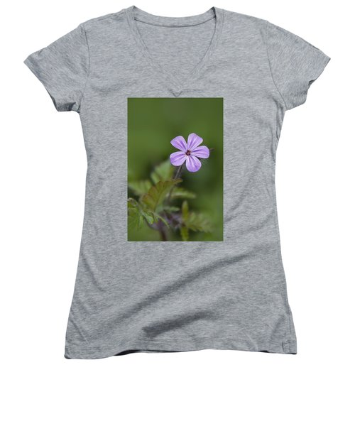 Pink Phlox Wildflower Women's V-Neck