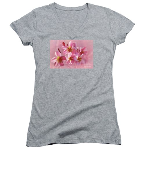 Women's V-Neck T-Shirt featuring the photograph Pink Plumeria Pastel By Kaye Menner by Kaye Menner