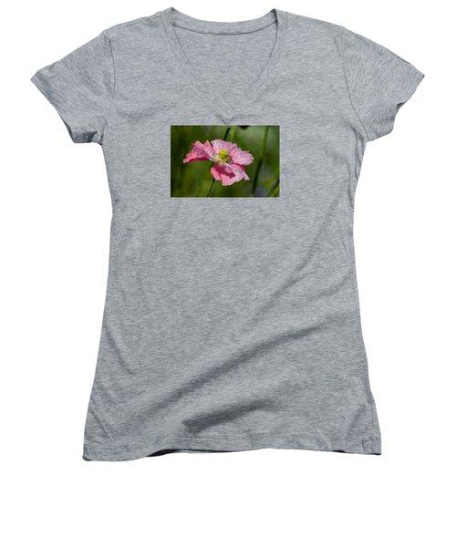 Pink Poppy Women's V-Neck T-Shirt (Junior Cut) by Martina Fagan