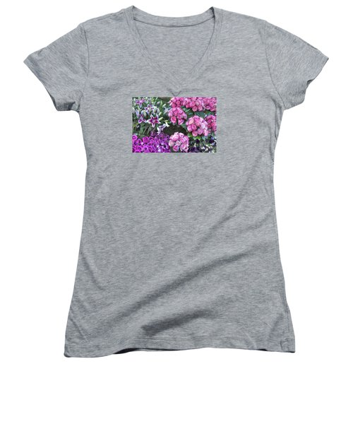 Pink, Purple And Lillies Women's V-Neck