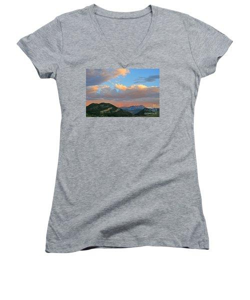 Women's V-Neck T-Shirt (Junior Cut) featuring the photograph Pink Rain Over The Sleeping Indian by Paula Guttilla