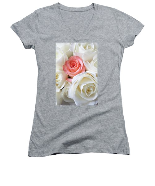 Pink Rose Among White Roses Women's V-Neck (Athletic Fit)