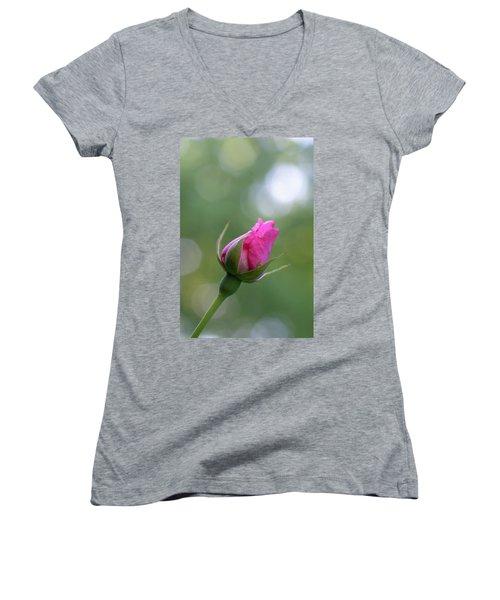 Pink Rose Bud Women's V-Neck