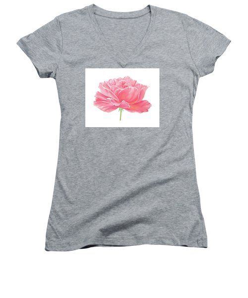 Women's V-Neck T-Shirt (Junior Cut) featuring the painting Pink Rose by Elizabeth Lock