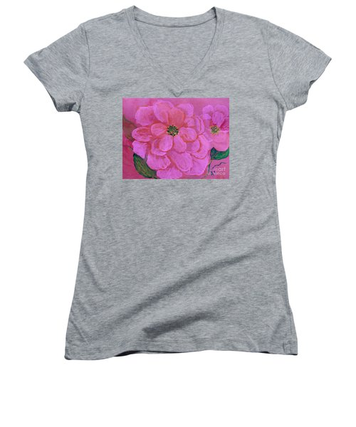 Pink Rose Flowers Women's V-Neck