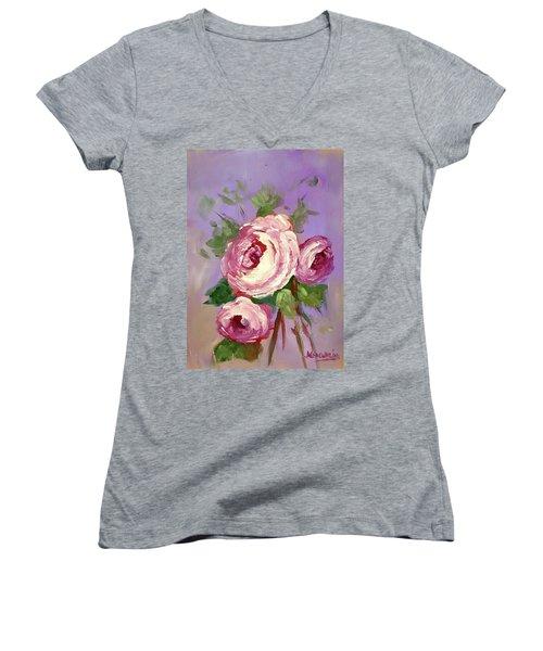 Pink Rose Women's V-Neck T-Shirt (Junior Cut) by Janet Garcia