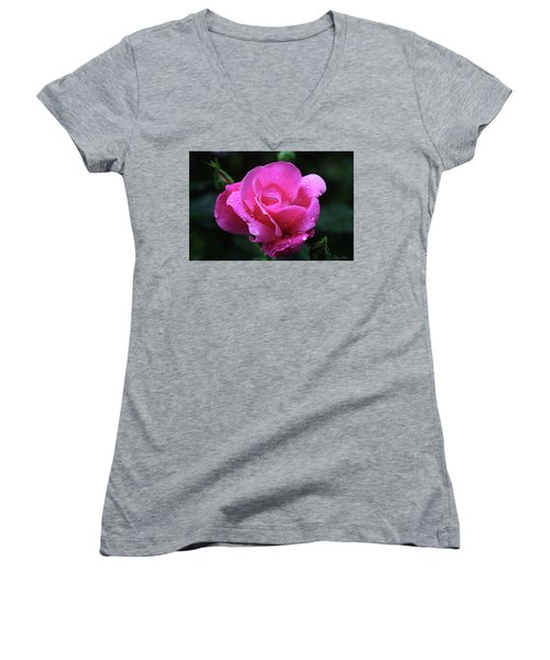 Pink Rose With Raindrops Women's V-Neck T-Shirt