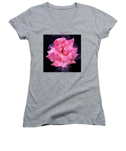 Pink Rose With Violet Women's V-Neck