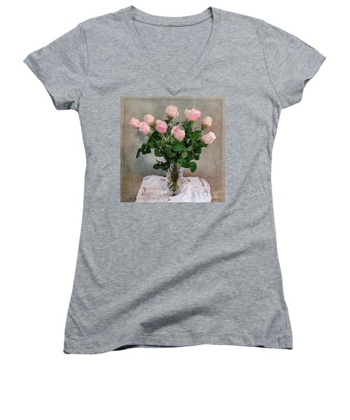 Pink Roses Women's V-Neck T-Shirt (Junior Cut) by Alexis Rotella