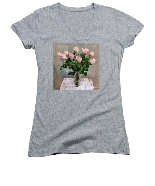 Pink Roses Women's V-Neck T-Shirt