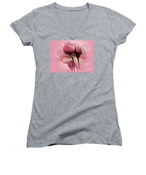 Roses In Pink Mist Women's V-Neck T-Shirt (Junior Cut) by Carol F Austin