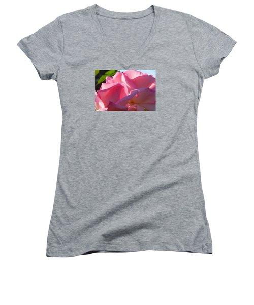 Pink Roses Women's V-Neck T-Shirt (Junior Cut) by Karen Molenaar Terrell