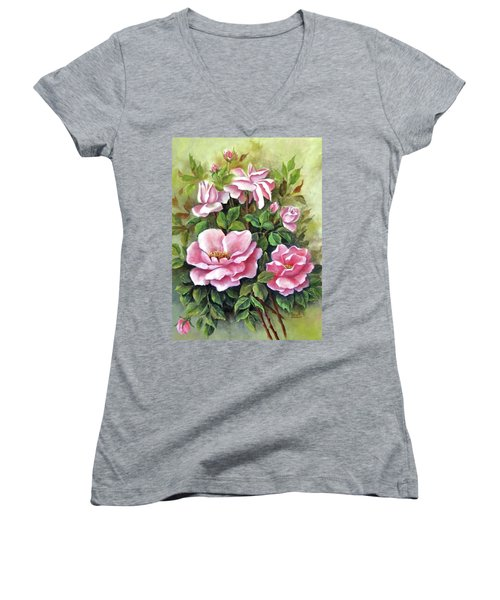 Pink Roses Women's V-Neck (Athletic Fit)