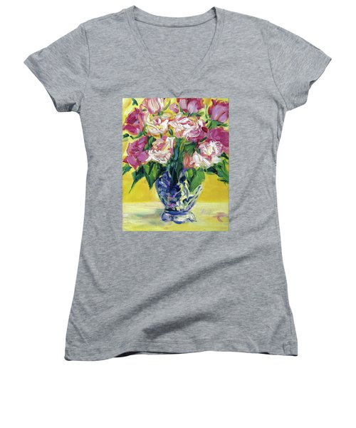 Pink Roses In Blue Deft Vase Women's V-Neck