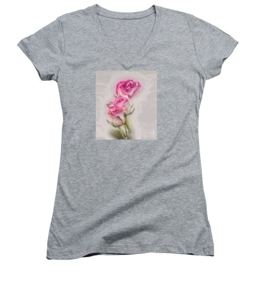 Pink Roses Women's V-Neck T-Shirt (Junior Cut) by Shirley Mangini
