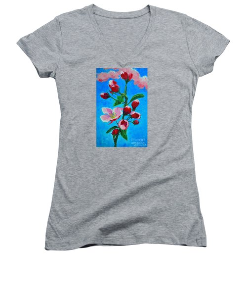 Women's V-Neck T-Shirt (Junior Cut) featuring the painting Pink Spring by Ana Maria Edulescu