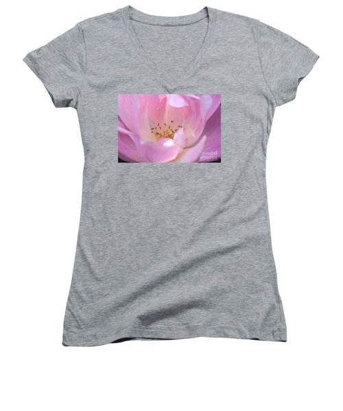 Pink Swirls Women's V-Neck T-Shirt