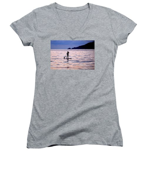 Women's V-Neck T-Shirt (Junior Cut) featuring the photograph Pink Water Girl by Jim Walls PhotoArtist