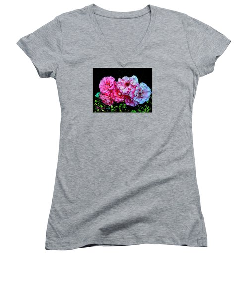 Women's V-Neck T-Shirt (Junior Cut) featuring the photograph Pink - White Roses  by Sadie Reneau