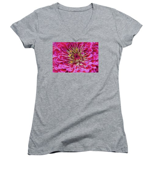 Pink Zinnia Glow Women's V-Neck (Athletic Fit)