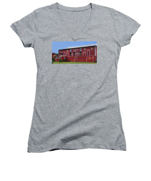 Pinnacle Ridge Winery Women's V-Neck T-Shirt (Junior Cut) by Sharon Batdorf