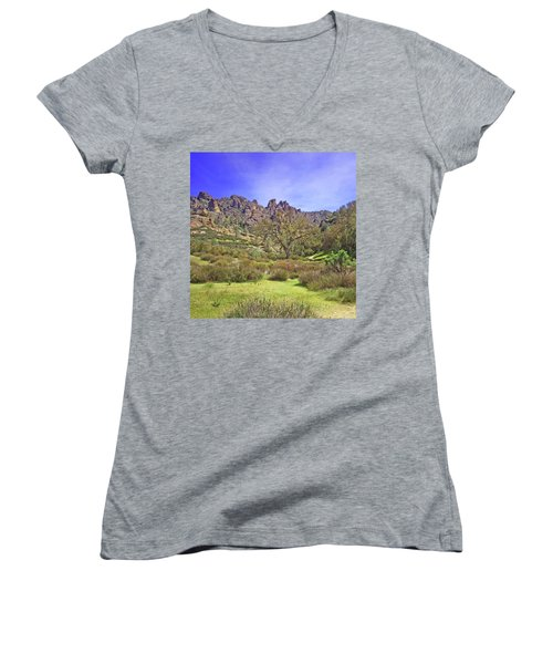 Women's V-Neck T-Shirt (Junior Cut) featuring the photograph Pinnacles National Park Watercolor by Art Block Collections