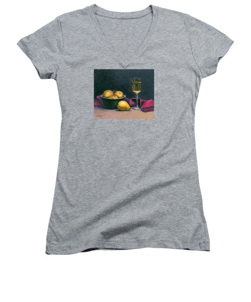 Pinot And Pears Still Life Women's V-Neck T-Shirt (Junior Cut) by Janet King