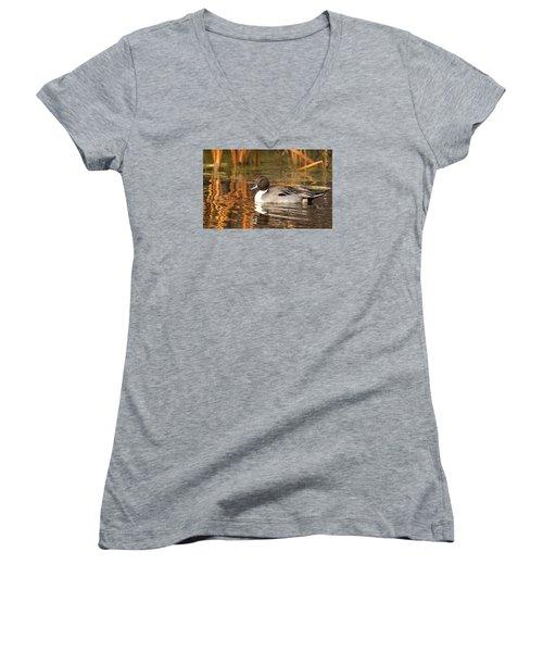 Pintail Women's V-Neck T-Shirt (Junior Cut) by Kelly Marquardt