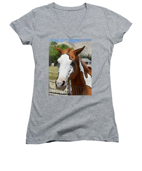 Women's V-Neck T-Shirt (Junior Cut) featuring the photograph Pinto In The Pasture Portrait  by Barbara Snyder
