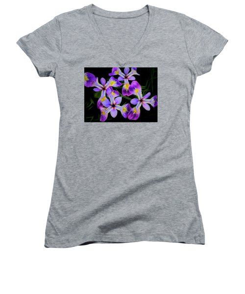 Pinwheel Purple Iris Glow Women's V-Neck T-Shirt (Junior Cut) by Penny Lisowski